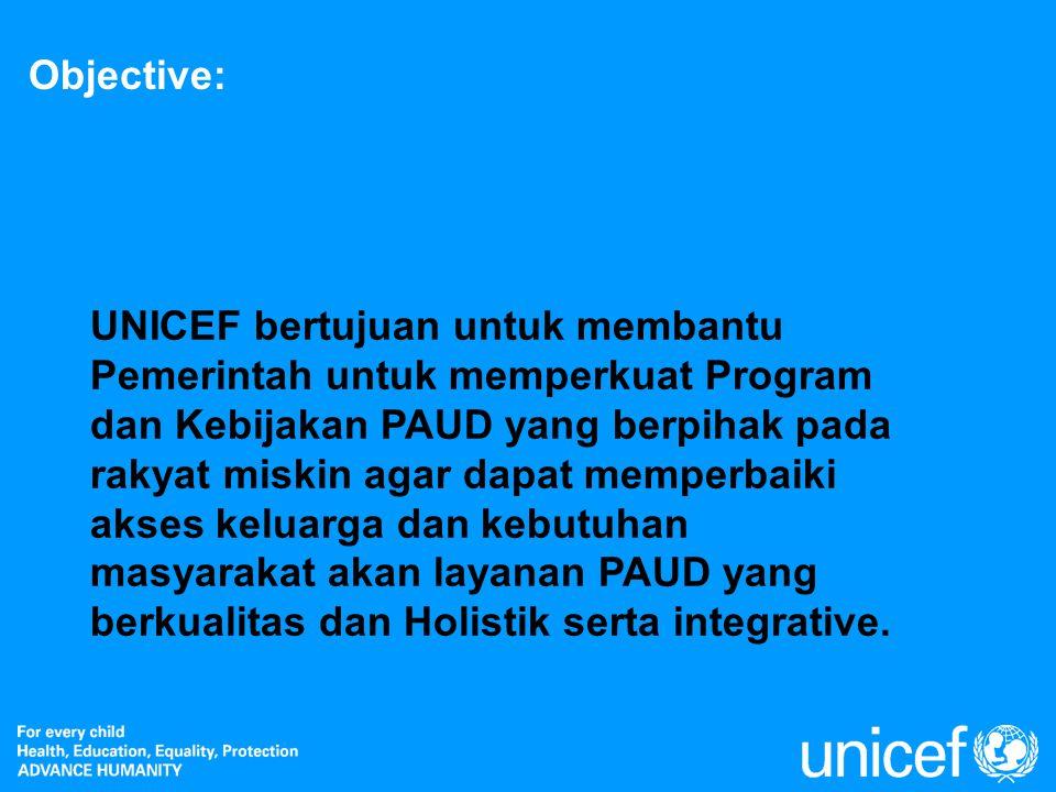 Objective: UNICEF bertujuan untuk membantu Pemerintah untuk memperkuat Program dan Kebijakan PAUD yang berpihak pada rakyat miskin agar dapat memperba