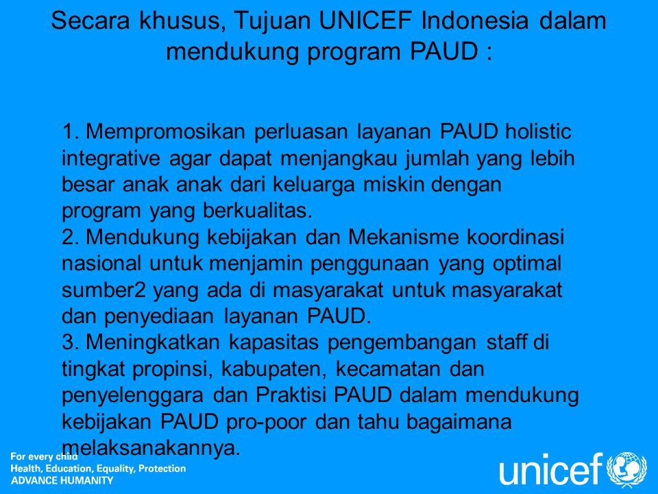 Secara khusus, Tujuan UNICEF Indonesia dalam mendukung program PAUD : 1. Mempromosikan perluasan layanan PAUD holistic integrative agar dapat menjangk