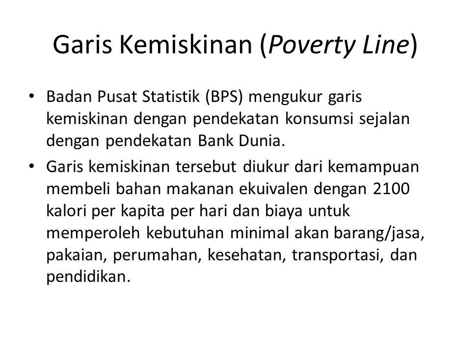 Garis Kemiskinan (Poverty Line) Badan Pusat Statistik (BPS) mengukur garis kemiskinan dengan pendekatan konsumsi sejalan dengan pendekatan Bank Dunia.