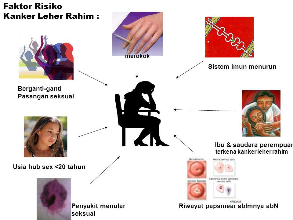 Berganti-ganti Pasangan seksual Usia hub sex <20 tahun merokok Sistem imun menurun Ibu & saudara perempuan Riwayat papsmear sblmnya abNPenyakit menular seksual Faktor Risiko Kanker Leher Rahim : terkena kanker leher rahim