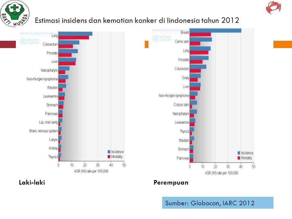 Estimasi insidens dan kematian kanker di Iindonesia tahun 2012 Laki-lakiPerempuan Sumber: Globocan, IARC 2012