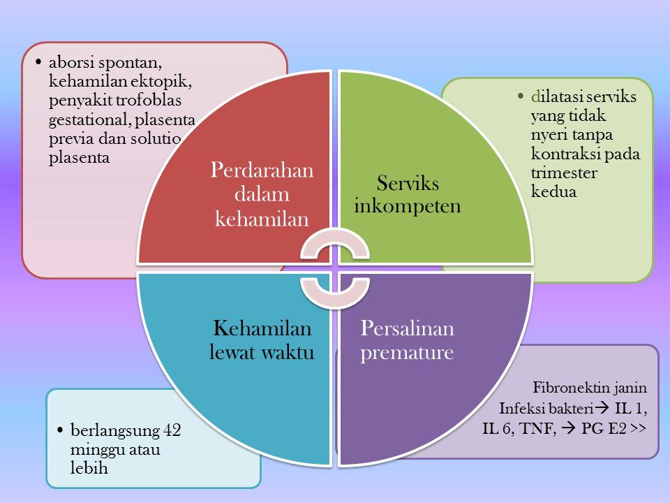 Fibronektin janin Infeksi bakteri  IL 1, IL 6, TNF,  PG E2 >> berlangsung 42 minggu atau lebih dilatasi serviks yang tidak nyeri tanpa kontraksi pad