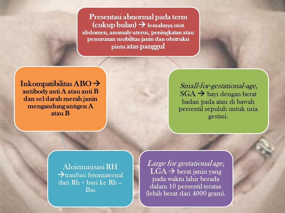 Presentasi abnormal pada term (cukup bulan)  lemahnya otot abdomen, anomaly uterus, peningkatan atau penurunan mobilitas janin dan obstruksi pintu at