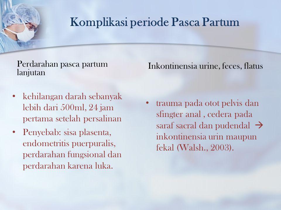 Komplikasi periode Pasca Partum Perdarahan pasca partum lanjutan kehilangan darah sebanyak lebih dari 500ml, 24 jam pertama setelah persalinan Penyeba