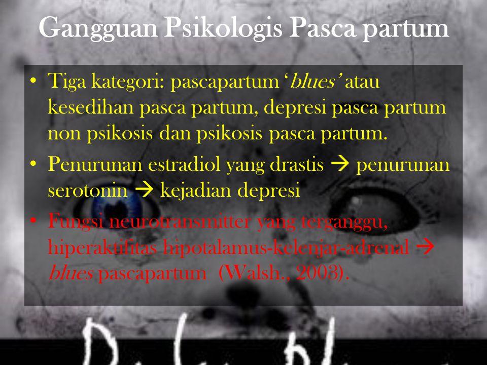 Gangguan Psikologis Pasca partum Tiga kategori: pascapartum 'blues' atau kesedihan pasca partum, depresi pasca partum non psikosis dan psikosis pasca