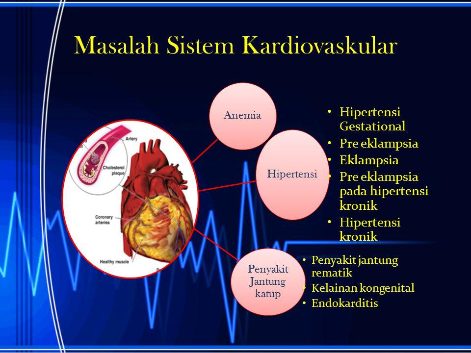 Masalah Sistem Kardiovaskular Anemia Hipertensi Hipertensi Gestational Pre eklampsia Eklampsia Pre eklampsia pada hipertensi kronik Hipertensi kronik