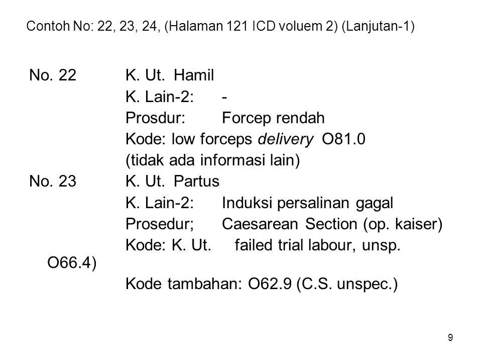 9 Contoh No: 22, 23, 24, (Halaman 121 ICD voluem 2) (Lanjutan-1) No. 22K. Ut.Hamil K. Lain-2:- Prosdur:Forcep rendah Kode: low forceps delivery O81.0