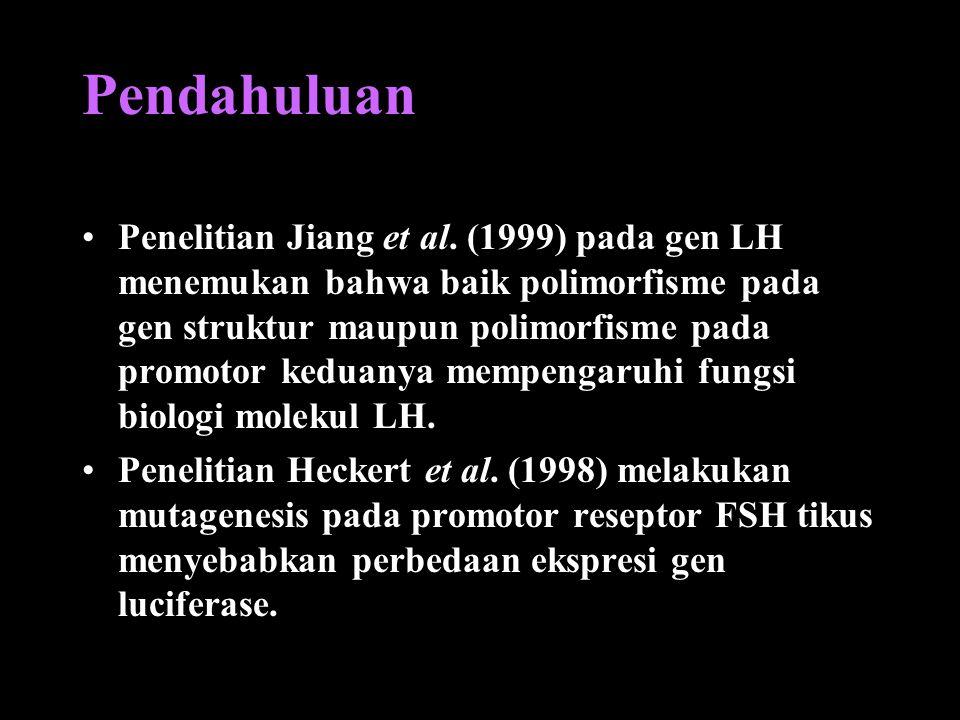 Pendahuluan Penelitian Jiang et al. (1999) pada gen LH menemukan bahwa baik polimorfisme pada gen struktur maupun polimorfisme pada promotor keduanya