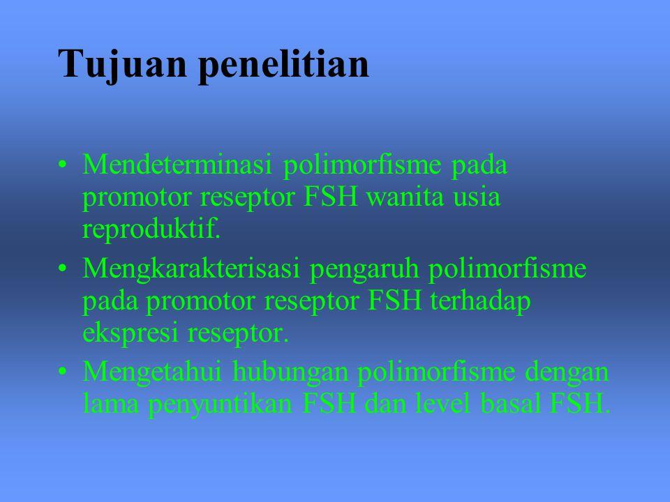 Tujuan penelitian Mendeterminasi polimorfisme pada promotor reseptor FSH wanita usia reproduktif. Mengkarakterisasi pengaruh polimorfisme pada promoto