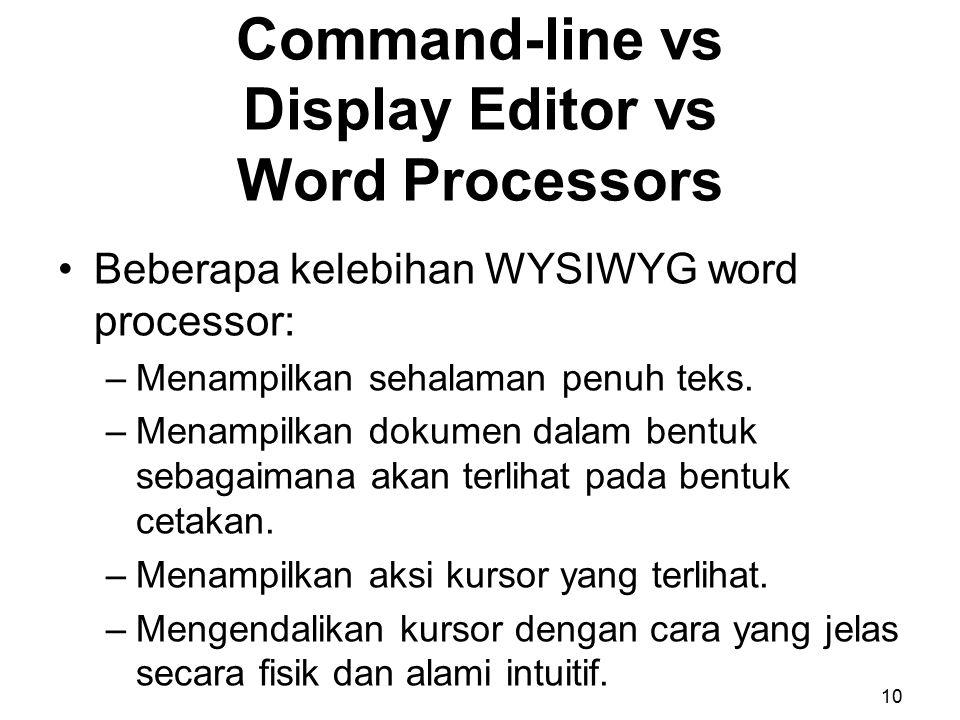Beberapa kelebihan WYSIWYG word processor: –Menampilkan sehalaman penuh teks. –Menampilkan dokumen dalam bentuk sebagaimana akan terlihat pada bentuk