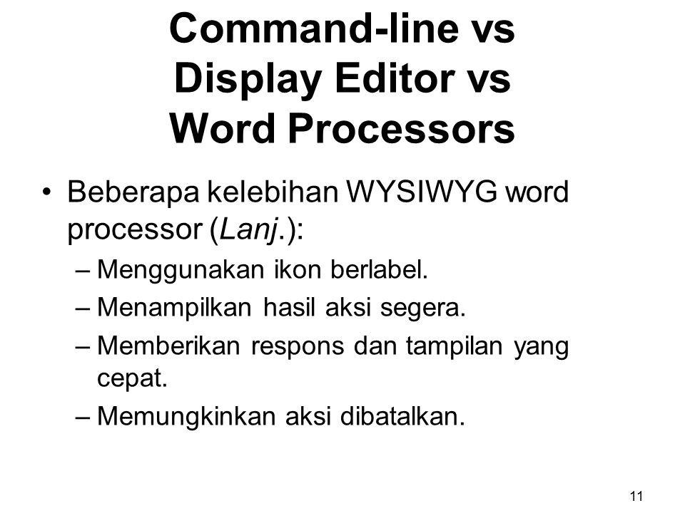 Beberapa kelebihan WYSIWYG word processor (Lanj.): –Menggunakan ikon berlabel. –Menampilkan hasil aksi segera. –Memberikan respons dan tampilan yang c