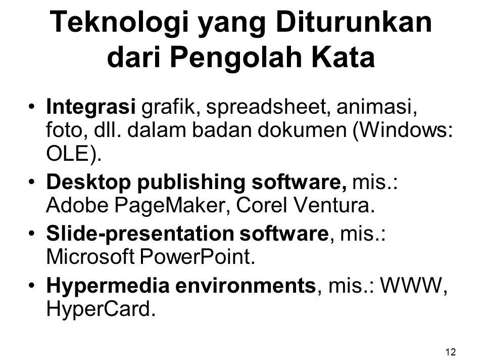 Teknologi yang Diturunkan dari Pengolah Kata Integrasi grafik, spreadsheet, animasi, foto, dll. dalam badan dokumen (Windows: OLE). Desktop publishing