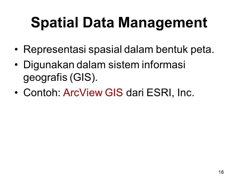 Spatial Data Management Representasi spasial dalam bentuk peta. Digunakan dalam sistem informasi geografis (GIS). Contoh: ArcView GIS dari ESRI, Inc.