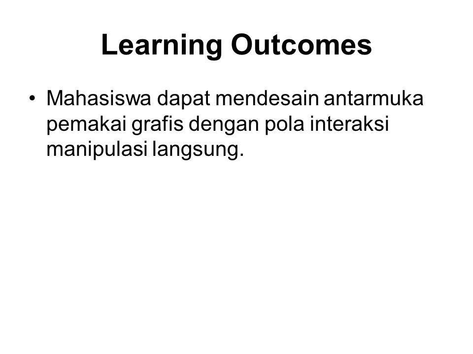 Learning Outcomes Mahasiswa dapat mendesain antarmuka pemakai grafis dengan pola interaksi manipulasi langsung.