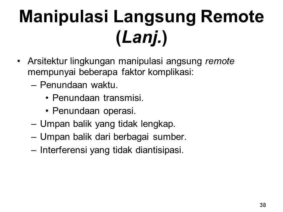 Manipulasi Langsung Remote (Lanj.) Arsitektur lingkungan manipulasi angsung remote mempunyai beberapa faktor komplikasi: –Penundaan waktu. Penundaan t