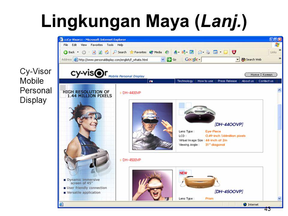 Lingkungan Maya (Lanj.) Cy-Visor Mobile Personal Display 43