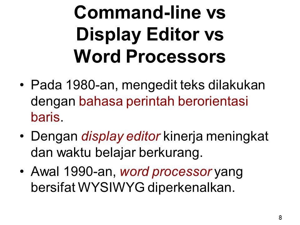 Command-line vs Display Editor vs Word Processors Pada 1980-an, mengedit teks dilakukan dengan bahasa perintah berorientasi baris. Dengan display edit