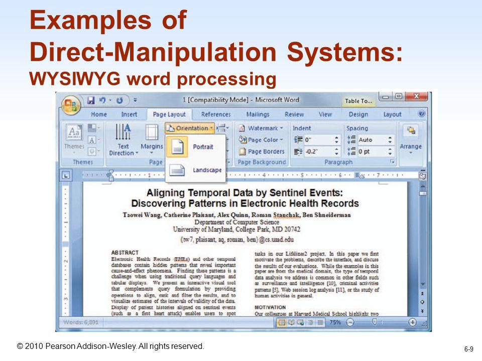 Beberapa kelebihan WYSIWYG word processor: –Menampilkan sehalaman penuh teks.