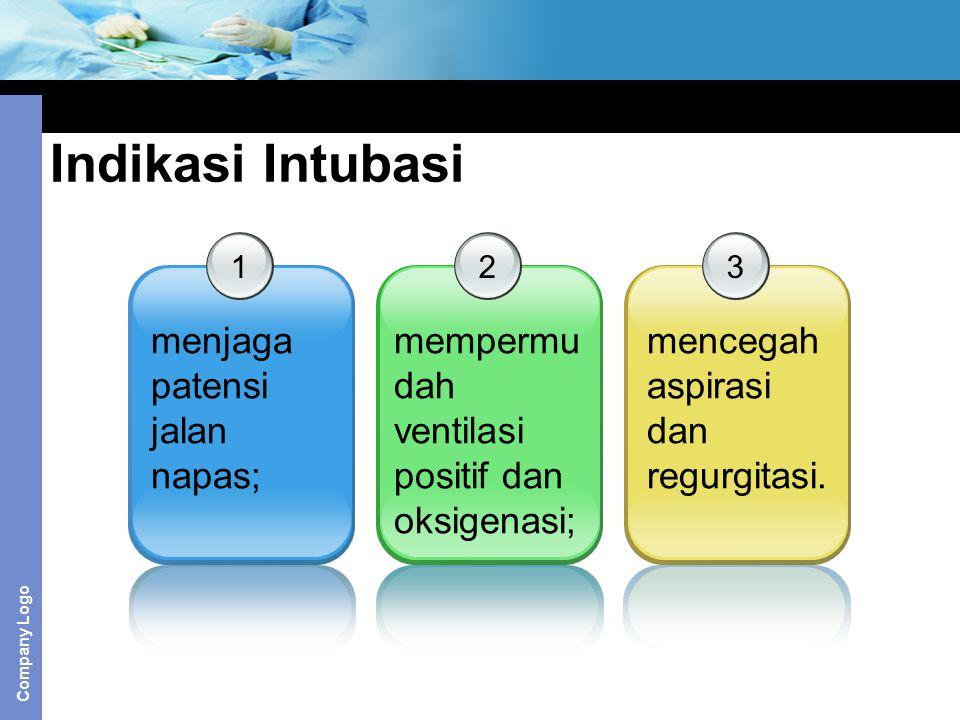 Company Logo Indikasi Intubasi 1 menjaga patensi jalan napas; 2 mempermu dah ventilasi positif dan oksigenasi; 3 mencegah aspirasi dan regurgitasi.
