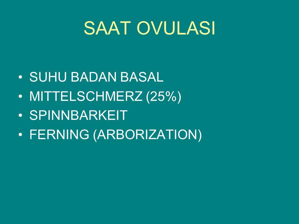 SAAT OVULASI SUHU BADAN BASAL MITTELSCHMERZ (25%) SPINNBARKEIT FERNING (ARBORIZATION)