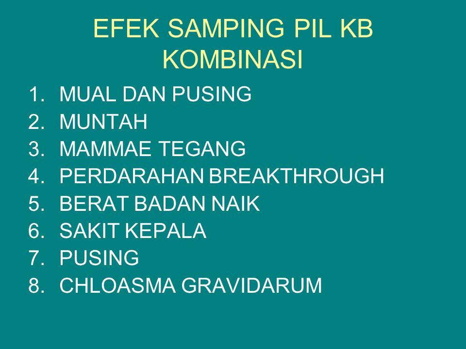 EFEK SAMPING PIL KB KOMBINASI 1.MUAL DAN PUSING 2.MUNTAH 3.MAMMAE TEGANG 4.PERDARAHAN BREAKTHROUGH 5.BERAT BADAN NAIK 6.SAKIT KEPALA 7.PUSING 8.CHLOASMA GRAVIDARUM