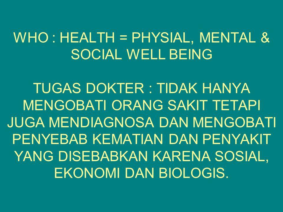 WHO : HEALTH = PHYSIAL, MENTAL & SOCIAL WELL BEING TUGAS DOKTER : TIDAK HANYA MENGOBATI ORANG SAKIT TETAPI JUGA MENDIAGNOSA DAN MENGOBATI PENYEBAB KEMATIAN DAN PENYAKIT YANG DISEBABKAN KARENA SOSIAL, EKONOMI DAN BIOLOGIS.