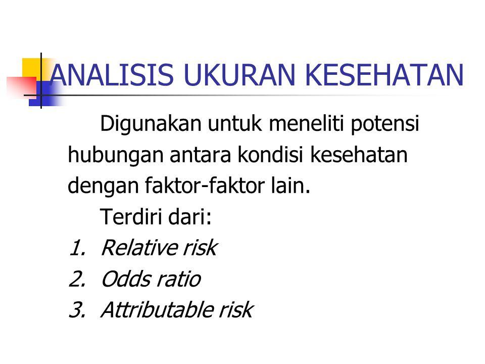 ATTRIBUTE RISK (AR) Yaitu perbedaan antara angka insidens bagi mereka yang terpajan dan mereka yang tidak terpajan faktor risiko.