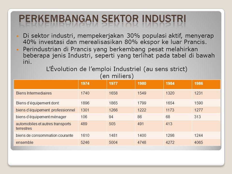 Di sektor industri, mempekerjakan 30% populasi aktif, menyerap 40% investasi dan merealisasikan 80% ekspor ke luar Prancis.