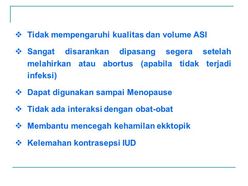 EFEK SAMPING UMUM TERJADI :  Perubahan siklus haid, haid lebih lama dan banyak perdarahan antar menstruasi, saat haid lebih sakit KOMPLIKASI LAIN :  Merasa sakit dan kejang selama 3-5 hari setelah pemasangan  Perdarahan berat pada waktu haid atau diantaranya yang menyebabkan anemia  Perforasi dinding uterus sangat jarang apabila pemasangan benar