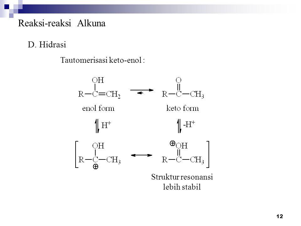 12 Reaksi-reaksi Alkuna D. Hidrasi Struktur resonansi lebih stabil Tautomerisasi keto-enol :