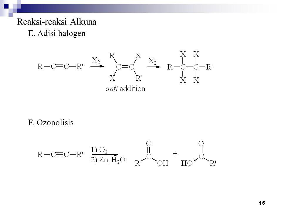 15 Reaksi-reaksi Alkuna E. Adisi halogen F. Ozonolisis