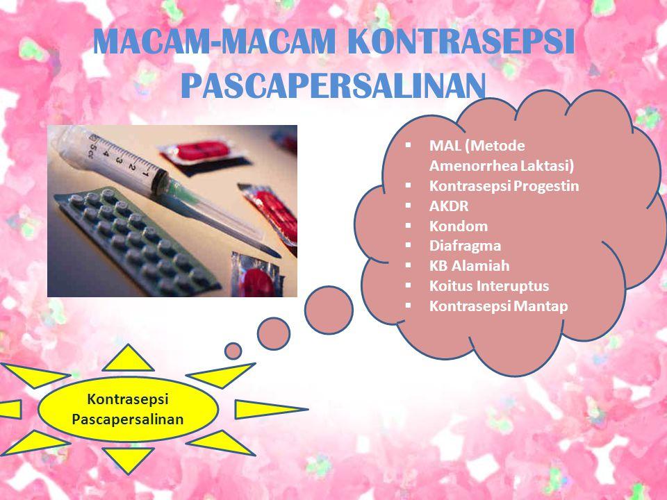 MACAM-MACAM KONTRASEPSI PASCAPERSALINAN  MAL (Metode Amenorrhea Laktasi)  Kontrasepsi Progestin  AKDR  Kondom  Diafragma  KB Alamiah  Koitus In