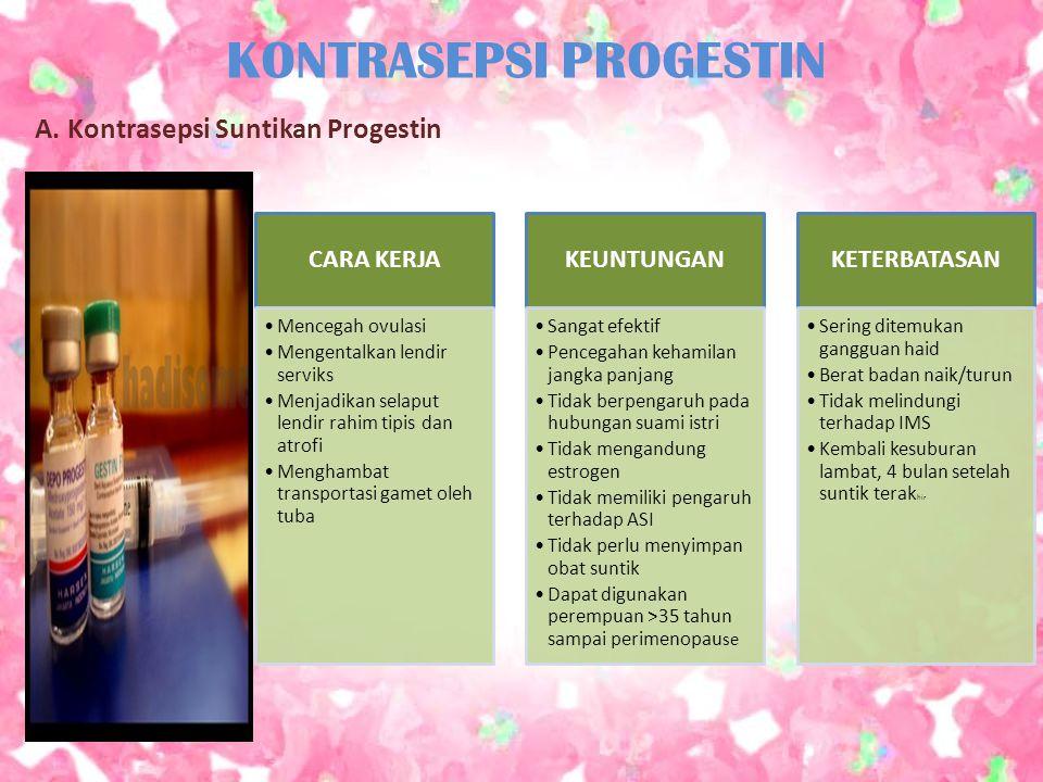 KONTRASEPSI PROGESTIN A. Kontrasepsi Suntikan Progestin CARA KERJA Mencegah ovulasi Mengentalkan lendir serviks Menjadikan selaput lendir rahim tipis