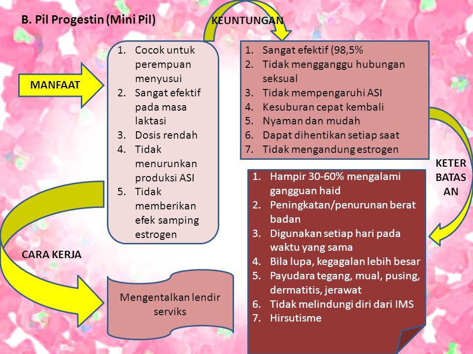 B. Pil Progestin (Mini Pil) MANFAAT 1.Cocok untuk perempuan menyusui 2.Sangat efektif pada masa laktasi 3.Dosis rendah 4.Tidak menurunkan produksi ASI