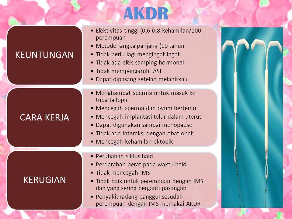 AKDR Efektivitas tinggi (0,6-0,8 kehamilan/100 perempuan Metode jangka panjang (10 tahun Tidak perlu lagi mengingat-ingat Tidak ada efek samping hormo