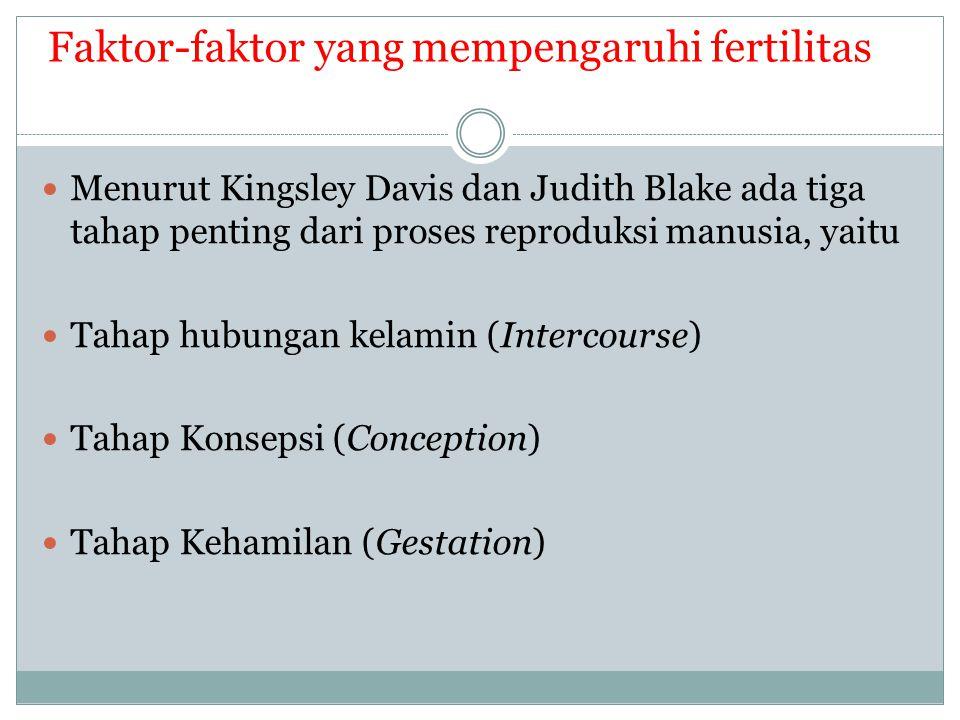 Faktor-faktor yang mempengaruhi fertilitas Menurut Kingsley Davis dan Judith Blake ada tiga tahap penting dari proses reproduksi manusia, yaitu Tahap