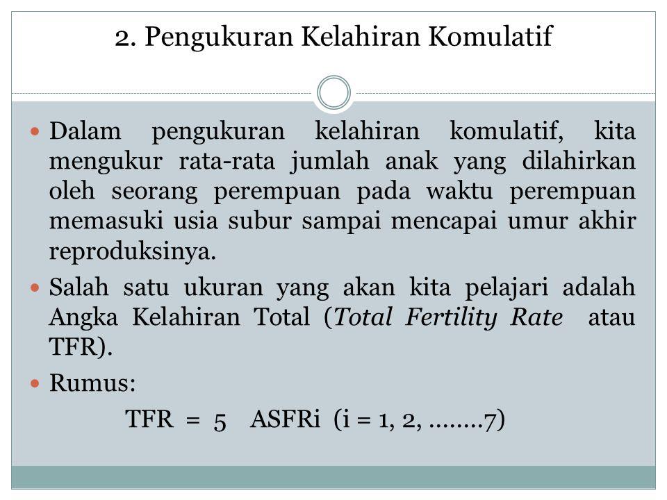 2. Pengukuran Kelahiran Komulatif Dalam pengukuran kelahiran komulatif, kita mengukur rata-rata jumlah anak yang dilahirkan oleh seorang perempuan pad