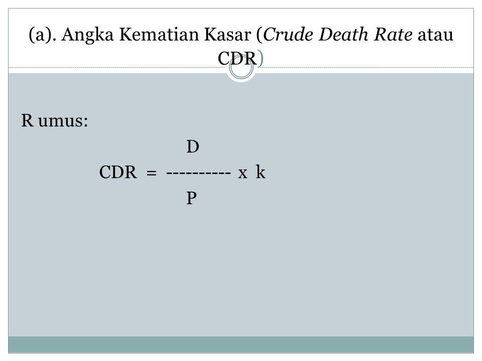 (a). Angka Kematian Kasar (Crude Death Rate atau CDR ) R umus: D CDR = ---------- x k P