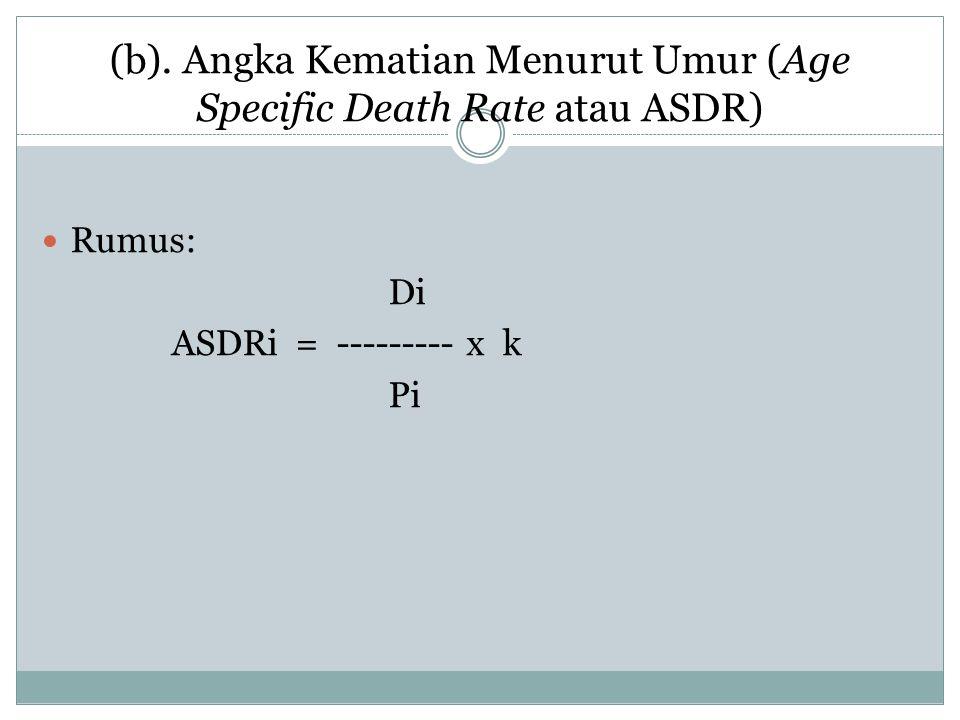 (b). Angka Kematian Menurut Umur (Age Specific Death Rate atau ASDR) Rumus: Di ASDRi = --------- x k Pi