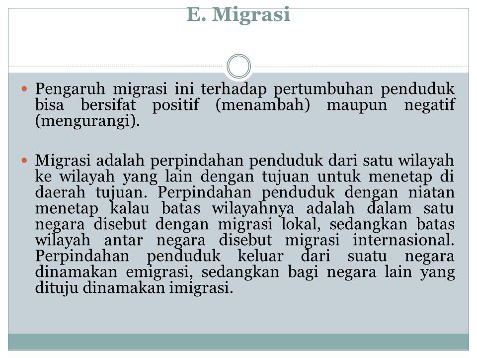 E. Migrasi Pengaruh migrasi ini terhadap pertumbuhan penduduk bisa bersifat positif (menambah) maupun negatif (mengurangi). Migrasi adalah perpindahan