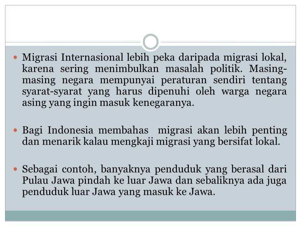 Migrasi Internasional lebih peka daripada migrasi lokal, karena sering menimbulkan masalah politik. Masing- masing negara mempunyai peraturan sendiri