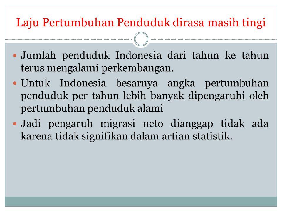 Laju Pertumbuhan Penduduk dirasa masih tingi Jumlah penduduk Indonesia dari tahun ke tahun terus mengalami perkembangan. Untuk Indonesia besarnya angk