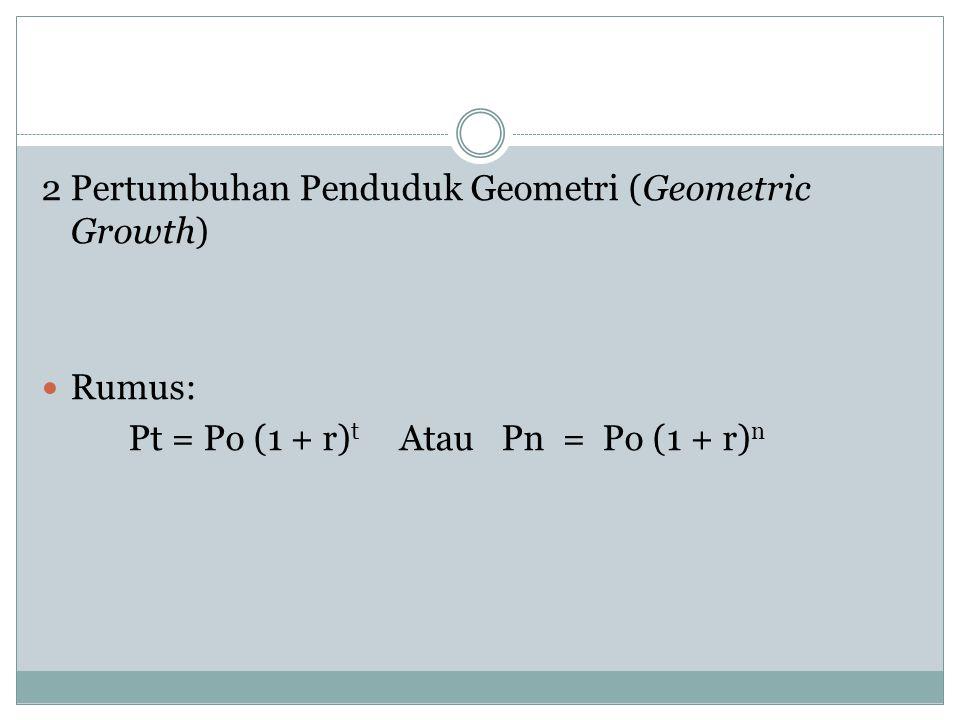 2 Pertumbuhan Penduduk Geometri (Geometric Growth) Rumus: Pt = Po (1 + r) t Atau Pn = Po (1 + r) n