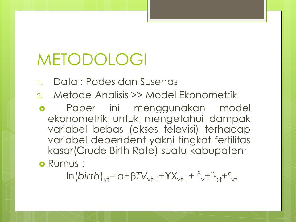 METODOLOGI 1. Data : Podes dan Susenas 2. Metode Analisis >> Model Ekonometrik  Paper ini menggunakan model ekonometrik untuk mengetahui dampak varia