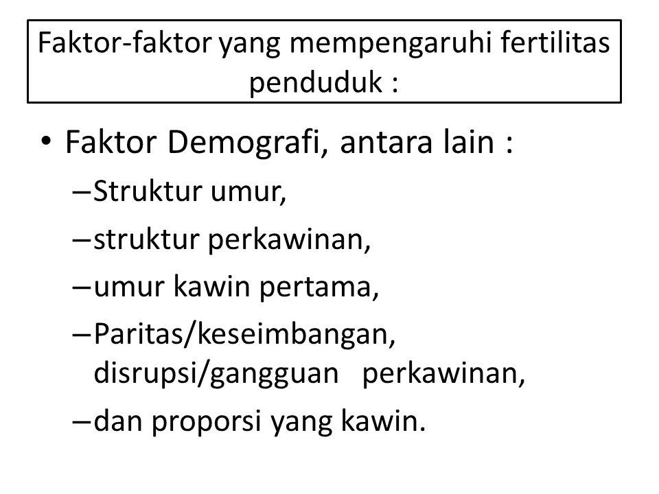 Faktor Demografi, antara lain : – Struktur umur, – struktur perkawinan, – umur kawin pertama, – Paritas/keseimbangan, disrupsi/gangguan perkawinan, – dan proporsi yang kawin.