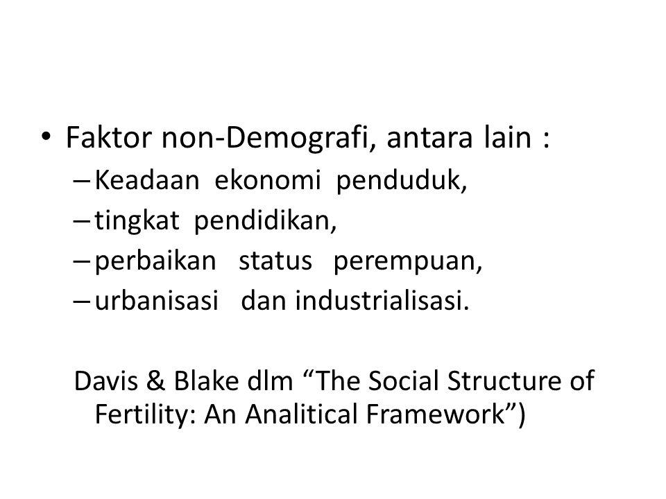 Faktor non-Demografi, antara lain : – Keadaan ekonomi penduduk, – tingkat pendidikan, – perbaikan status perempuan, – urbanisasi dan industrialisasi.