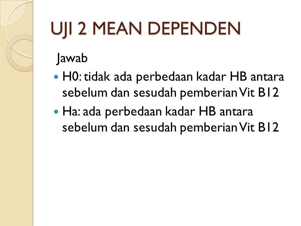 UJI 2 MEAN DEPENDEN Jawab H0: tidak ada perbedaan kadar HB antara sebelum dan sesudah pemberian Vit B12 Ha: ada perbedaan kadar HB antara sebelum dan