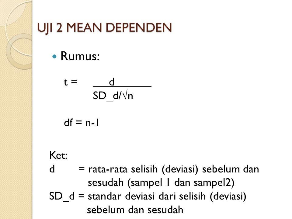 UJI 2 MEAN DEPENDEN Rumus: t = d SD_d/√n df = n-1 Ket: d = rata-rata selisih (deviasi) sebelum dan sesudah (sampel 1 dan sampel2) SD_d = standar devia