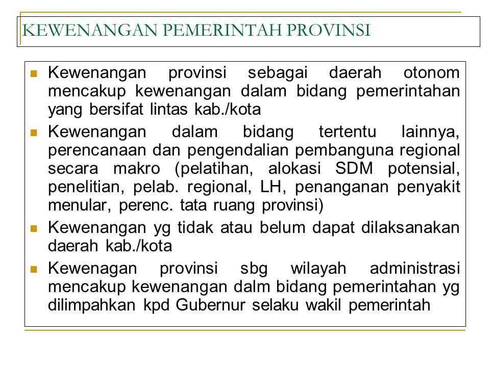 KEWENANGAN PEMERINTAH PROVINSI Kewenangan provinsi sebagai daerah otonom mencakup kewenangan dalam bidang pemerintahan yang bersifat lintas kab./kota