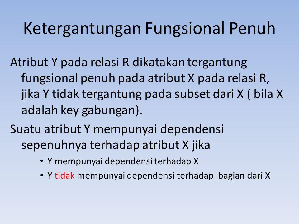 Ketergantungan Fungsional Penuh Atribut Y pada relasi R dikatakan tergantung fungsional penuh pada atribut X pada relasi R, jika Y tidak tergantung pa